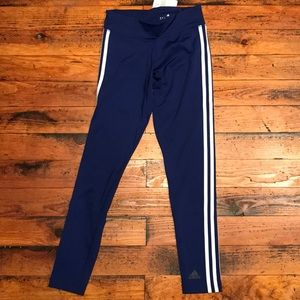 Adidas tights blue with side stripes, Sz XS/S